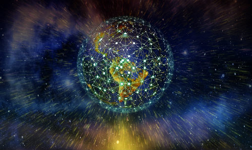 graphic of networked globe in space